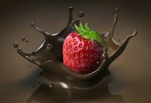 Food Intolerance Erdbeere auf Schoko-Splash