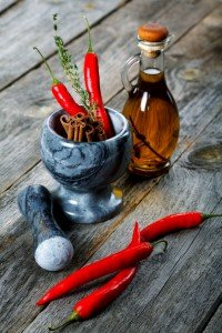 Food Intolerance Still-life of spice and mortar on a old wooden table